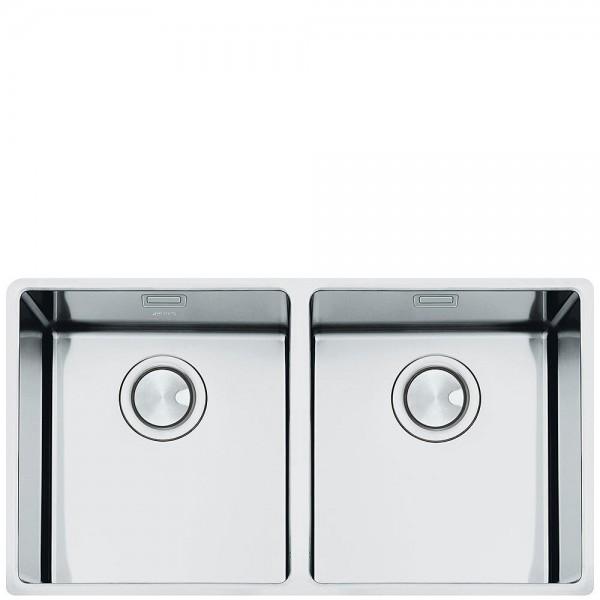 Smeg VSTR3434-2 Unter-Doppelspüle Edelstahl 73 cm günstig online kaufen