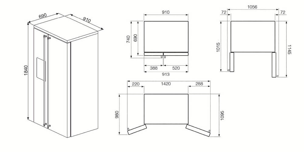 smeg sbs963p side by side k hl gefrierkombination creme. Black Bedroom Furniture Sets. Home Design Ideas